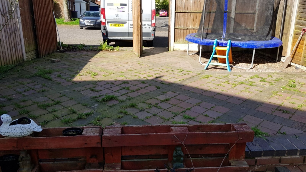 Before Back Garden Jet Washing